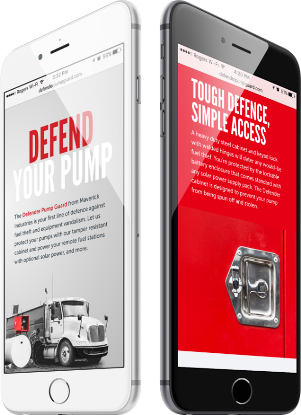 defender pump guards mobile mockup