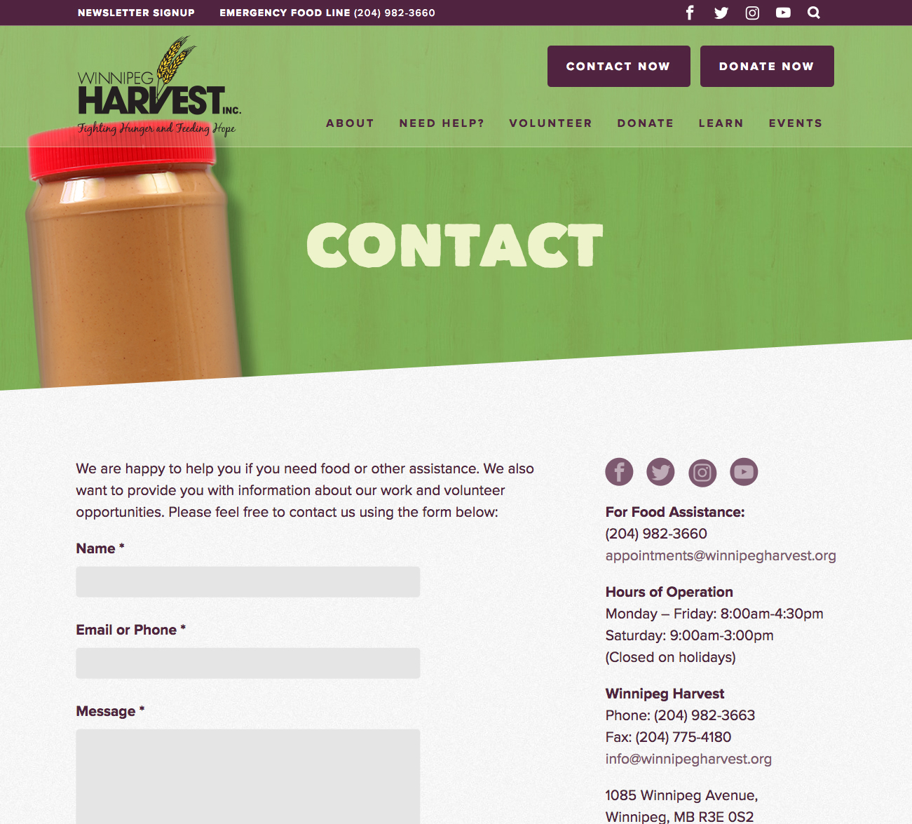 winnipeg harvest contact page